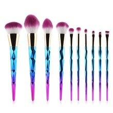 10pcs Makeup Brushes Set Diamond rainbow handle Cosmetic Foundation Blusher Powder Blending Brush beauty tools kits-MB005