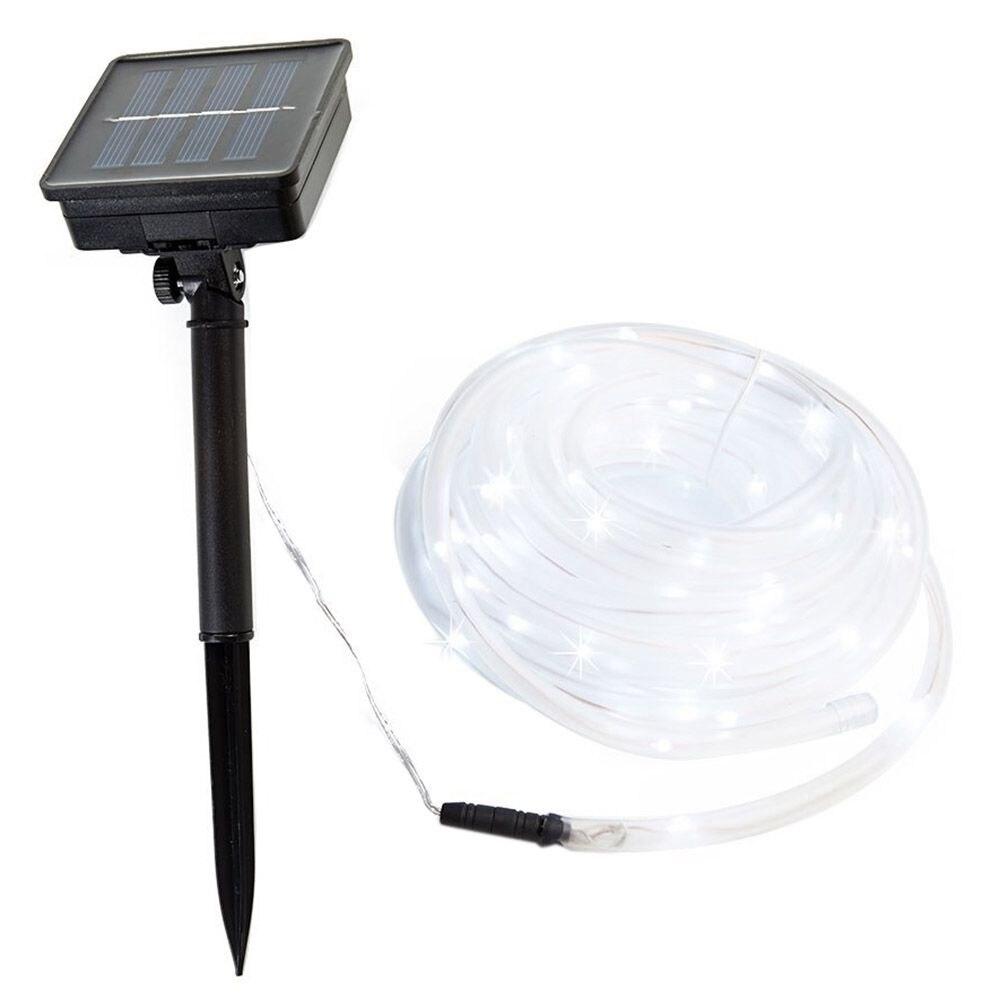 Waterproof 100 LED 12M Solar Christmas Led Lighting Rope PVC <font><b>TUBE</b></font> String Light Fairy Garden Wall Light Wedding Party (White)