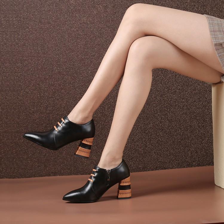 Naranja Chic Zapatos De Cuadrados Cuero Alta Negro Mujeres Mujer dOqwX6