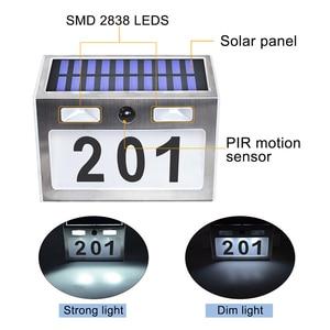 Image 2 - Güneş ev numarası plak ışık 200LM hareket sensörlü LED işıklar adres numarası ev bahçe kapı güneş lambası aydınlatma