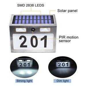 Image 2 - Solar Haus Anzahl Plaque Licht mit 200LM Motion Sensor Led leuchten Adresse Anzahl für Home Garten Tür Solar Lampe Beleuchtung