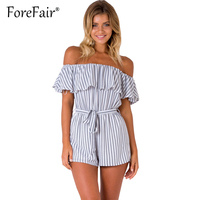 Forefair White Striped Elegant Jumpsuit Romper Sexy Off Shoulder Ruffles Overalls Summer Casual Tunic Playsuits
