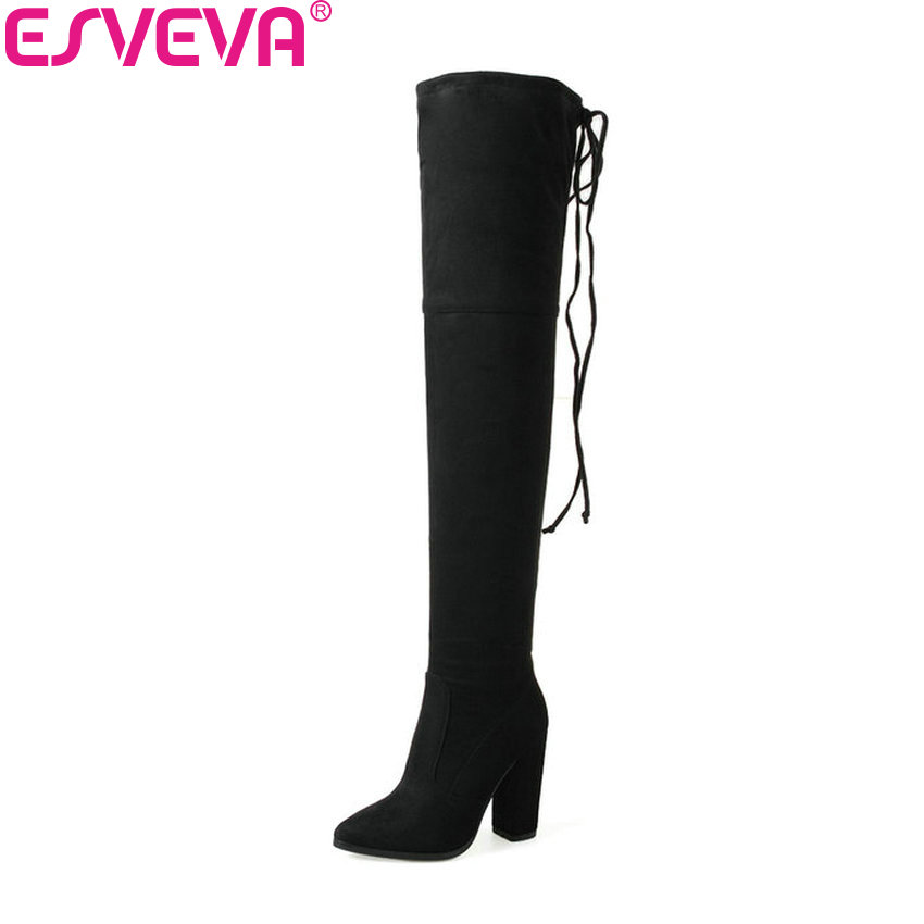 ESVEVA 2018 Women Boots Slim Look Over The Knee Boots Sexy Square High Heel Winter and Autumn Concise Ladies Boots Size 34-43 esveva 2017 western style flock women boots over the knee boots winter square high heel ladies lace up fashion boots size 34 43