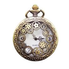Antique Copper Steampunk Quartz Pocket Watch Vintage Bronze Gear Hollow Necklace Pendant Clock With Chain Men's Women Gifts