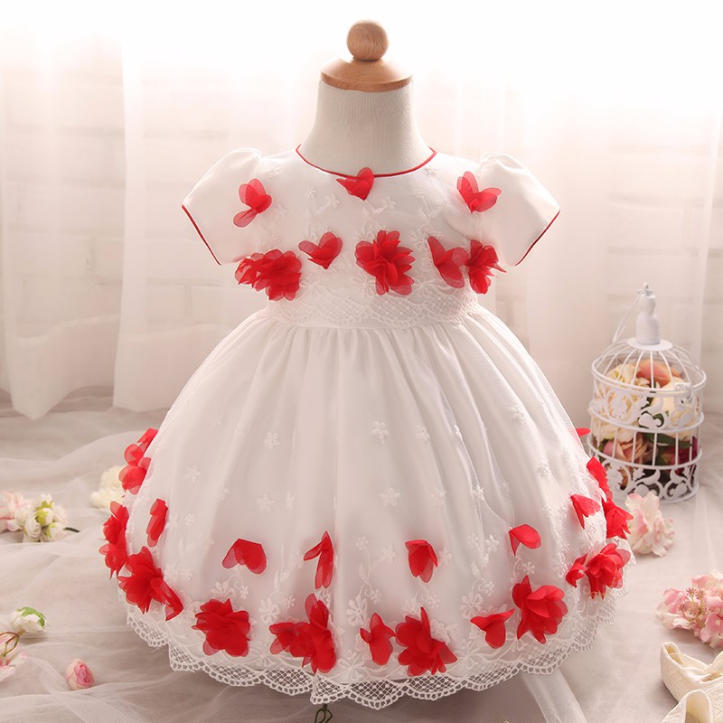New Infant Dress Appliques Flower Pattern For Kids Short Sleeve Birthday Wedding Party Vestido Clothes With Bow
