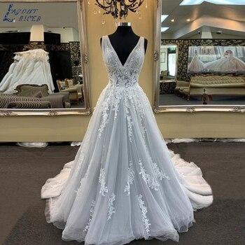 ZL1023 New Gorgeous V Neck Lace Appliques Tulle A Line Wedding Dresses Bridal Gown Celebrity vestido De Noiva robe de mariee