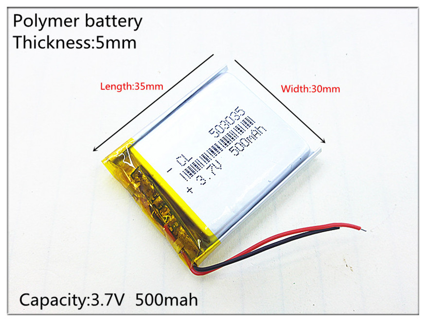 Liter energy battery 3.7V lithium polymer battery 503035 500MAH MP3 MP4 MP5 GPS SD recorder 483037 3 7v lithium polymer battery 061745 601745 camera pen recorder bluetooth wireless mouse battery