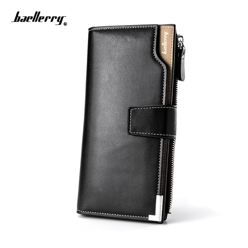 Hot Sale Kvalitet Mjukt Läder Män Plånböcker Business Fritid 3 Foldor Hasp Dragkedja Kreditkort Hållare Plånbok handväska för manlig