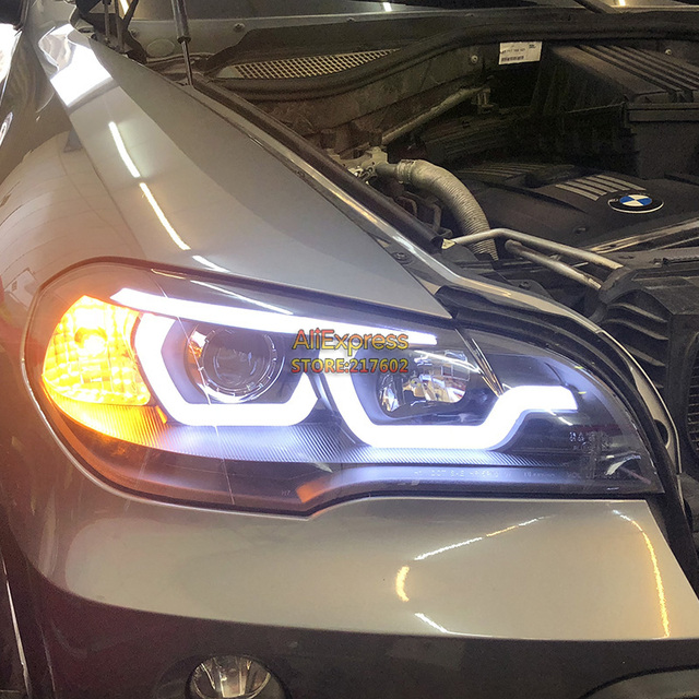 For Bmw X5 E70 Headlights Projector Lens With Led Bar