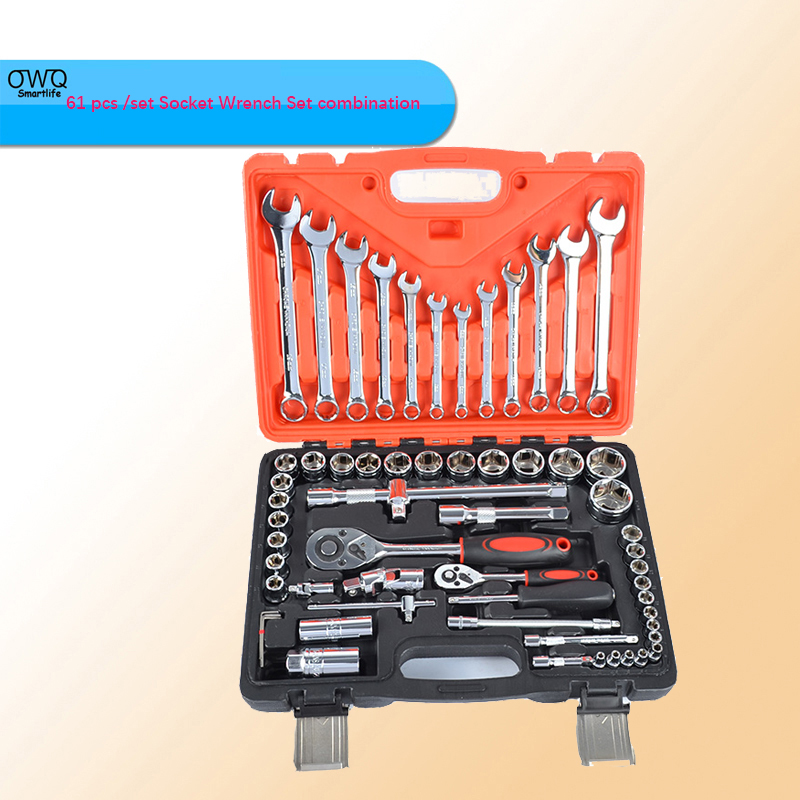61 pcs /set Socket Wrench Set combination wrench Spanner Car Ship Machine Repair Service Tools Kit with Ratchet 7pieces metric ratchet handle wrench set spanner gear wrench key tools to car bicycle combination open end wrenches 8mm 18mm