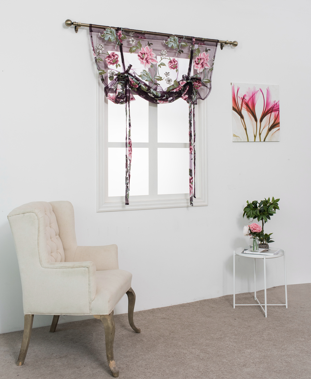 Kitchen short sheer burnout roman blinds curtains