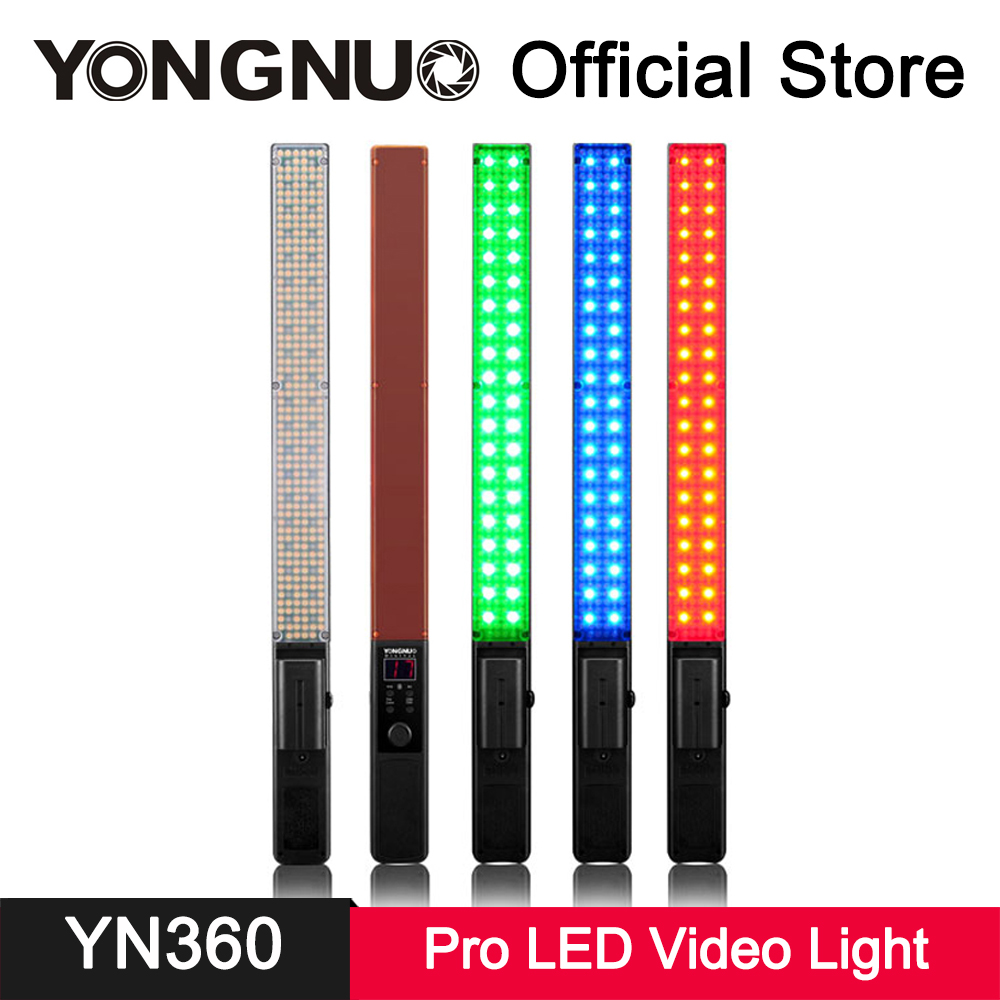 YongNuo YN360 LED Video Light Full Color RGB 3200K-5500K Bi-color CRI 95+ APP Remote Control Photo Studio Photography Lighting mcoplus air 1000b led video light pockable cri 95 display bi color