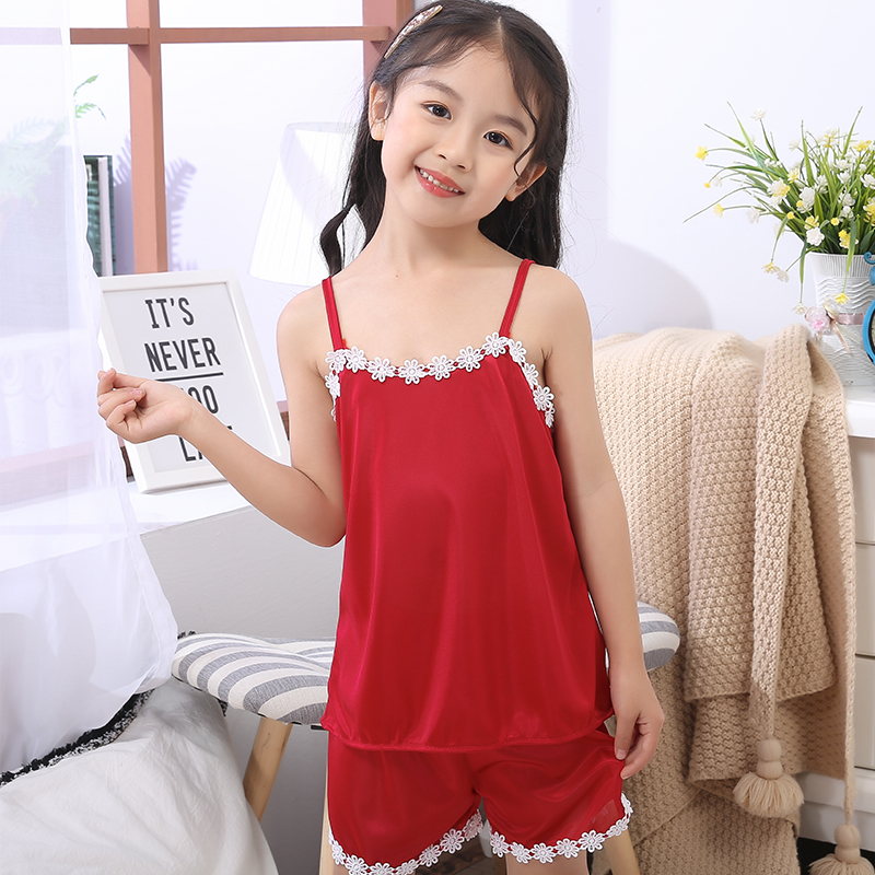 New Listing WAVMIT Children Cloth Summer Sleepwear Sets Girls Sling Pajamas Silk Princess Night Kids Home Cltoh Girl Sleepwear 1