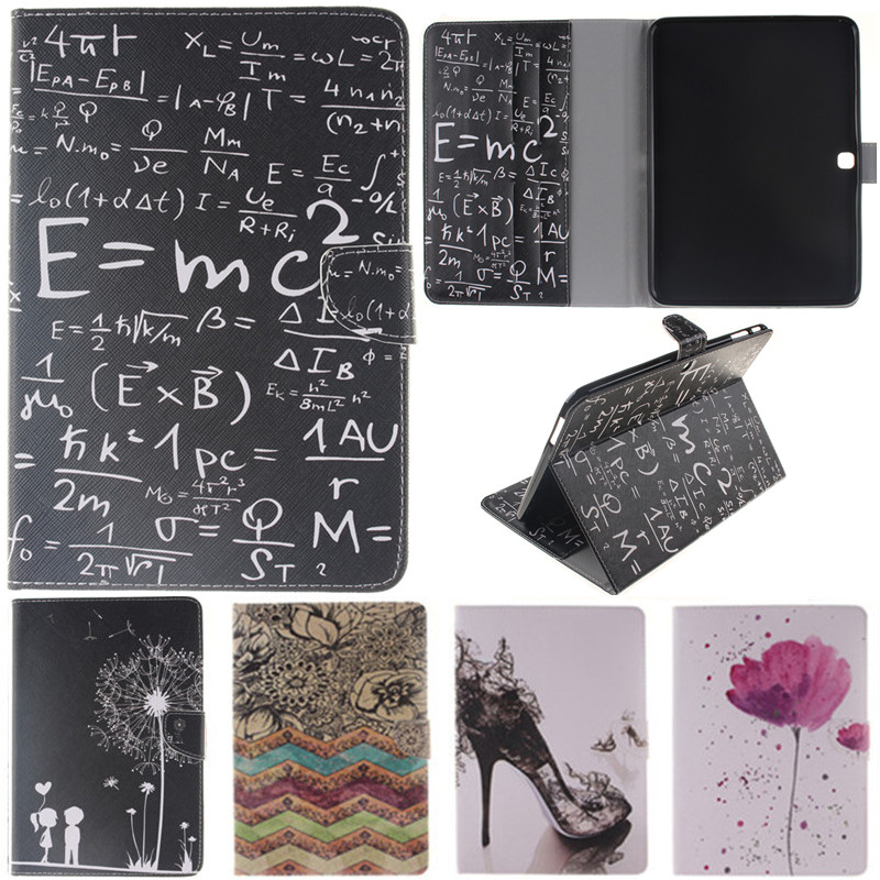 Cute Cartoon Black Lover Flower Formula Stand Flip Leather Case For Samsung Galaxy Tab 4 10.1 T530 T531 T535 Tablet Cover Coque luxury flip stand case for samsung galaxy tab 3 10 1 p5200 p5210 p5220 tablet 10 1 inch pu leather protective cover for tab3