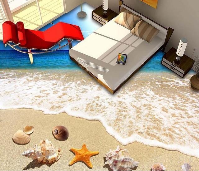 € 25.94 49% de réduction|3D peinture au sol décoration étanche papier peint  pour salle de bain plage eau de mer coquilles 3D étage paysage ...