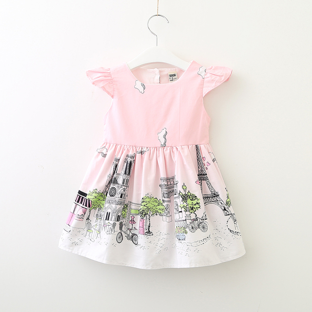 Girls Summer Princess Dress Kids Print Dresses Cotton Children s Clothing  Girls Wholesale Boutique Dresses Eiffel Paris Graffiti 92bc6671b