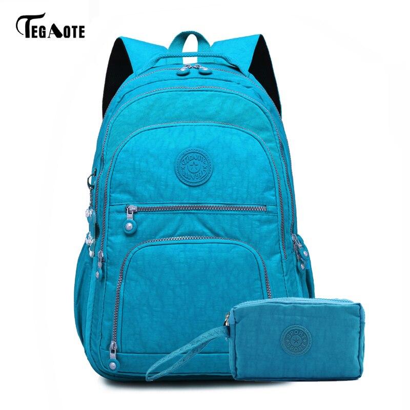 TEGAOTE 2pcs/Set Laptop Bags School-Backpack Teenage-Girls Nylon Female Casual for Mochila