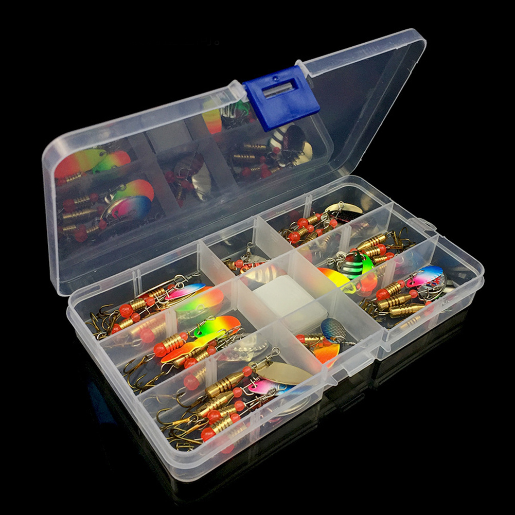 Tackle Boxed Durable Rotating Sequins Hooks Accessories Fishing Lures Set Assorted Pike Bass Artificial Baits Trout Metal image