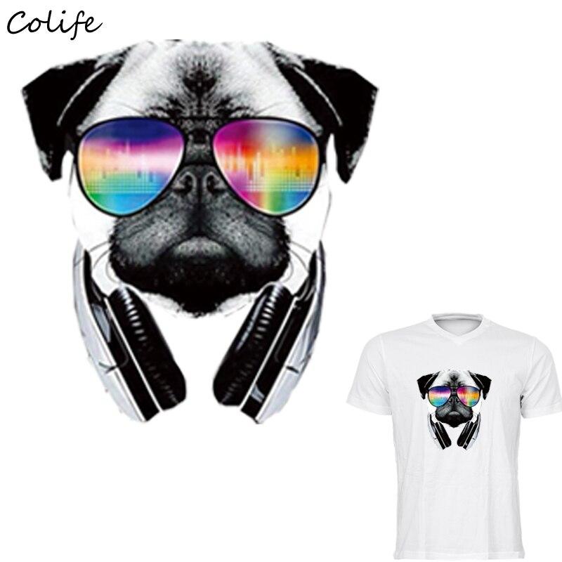 ᗛPUG perro Parches fresco Gafas impresión fácil por los hierros del ...