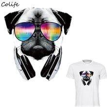 Carlin chien patchs lunettes Cool facile à imprimer par les fers ménagers T-Shirt lavable de niveau A bricolage décoration Parches Para La Ropa