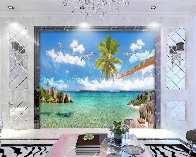 Free Shipping Custom 3d Wallpaper HD Coco Seascape Landscape Mediterranean Hawaii TV Background Wall Living Room