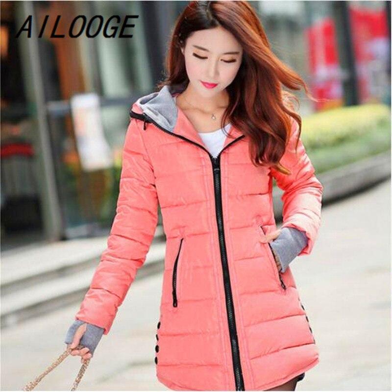 AILOOGE Women Winter Hooded Warm Coat Slim Plus Size Candy Color Cotton Padded Basic Jacket Female Medium-long Jaqueta Feminina