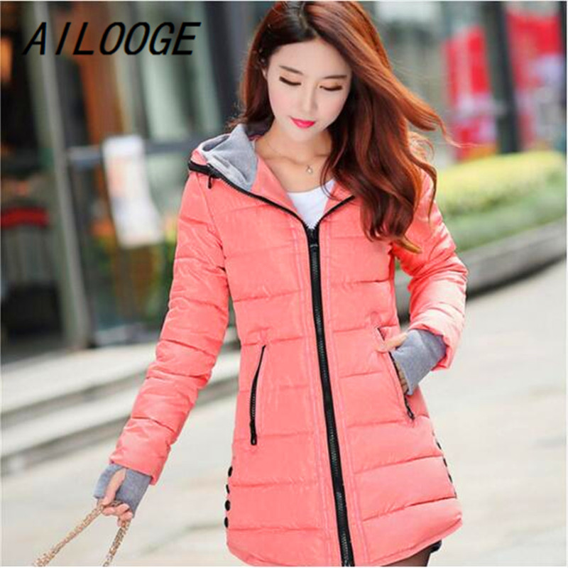 AILOOGE Women Winter Hooded Warm Coat Slim Plus Size Candy Color Cotton Padded   Basic     Jacket   Female Medium-long Jaqueta Feminina
