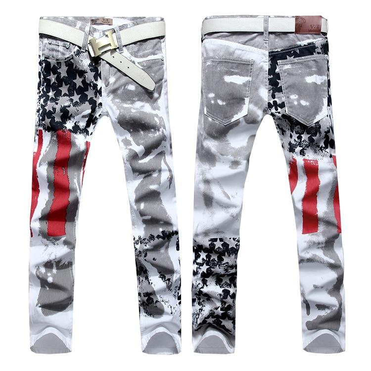 ФОТО Hot sale free shipping slim fit men jeans pants us flag printed denim trousers asian size 28 29 30 31 32 33 34 36