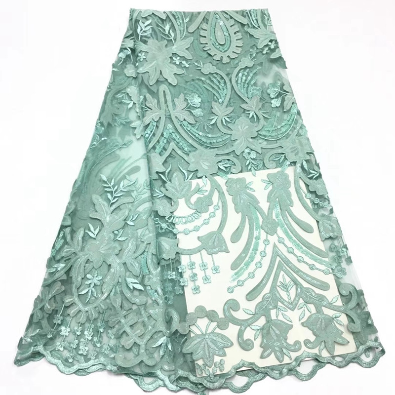 Nigerian French netted lace fabric, African Thin Netted lace series dress fabric with high quality sequins