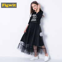 Figwit Girls 2 Pcs Dress Set Letter Print Children Clothing Set Long Summer Kids Autumn Winter Suit for Girls Teenage 6 12 Years