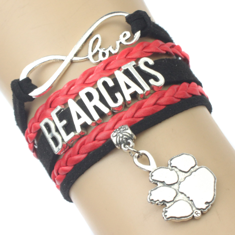 High Quality Infinity Love Cincinnati Bearcats Team Bracelet Red Black Custom Any Themes Drop Shipping