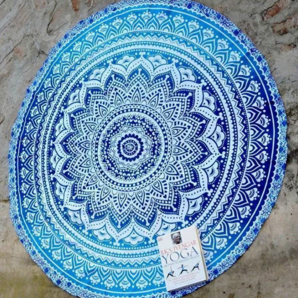 Round gradient Lotus Beach towel printing beach fringed bath towel ...