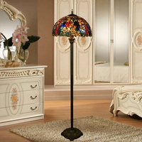 Eusolis Vintage Floor Lamp Stained Glass European Style Creative Stained Glass Living Room Lighting Lampada Da Terra Cinese
