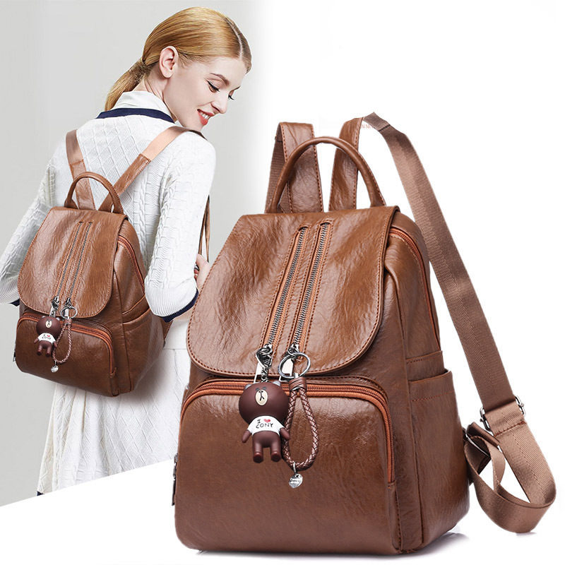 Luxury Woman Backpack Female Backpacks High Quality Schoolbag Backpack Fashion girl leather bag Rucksack mochila feminina H27 in Backpacks from Luggage Bags
