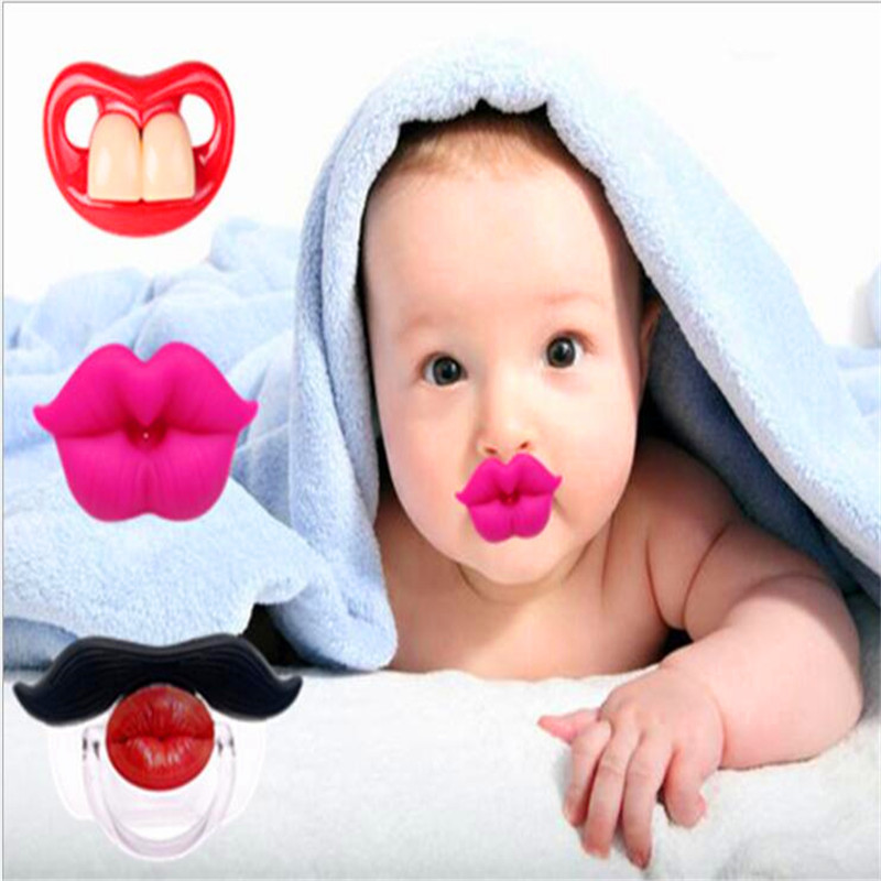 New Baby Pacifier Red Kiss Lips Dummy Pacifiers Funny Silicone Baby Nipples Teether Soothers Pacifier Baby Dental Care number