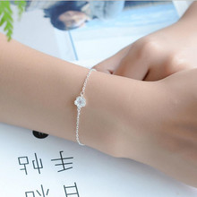 TJP Romantic Pink Crystal Cherry Blossoms Women Bracelets Jewelry New Fashion 925 Silver Bracelets For Girl Party Accessories