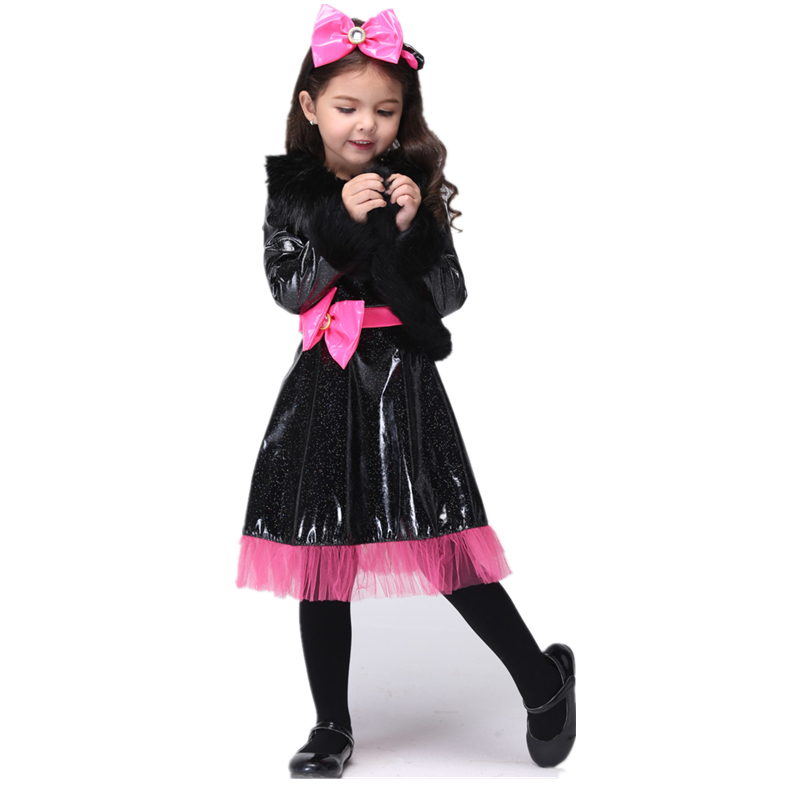 girls cute cat fancy dress cheap halloween costumes for kids birthday party dress children catwoman - Cheap Halloween Dresses