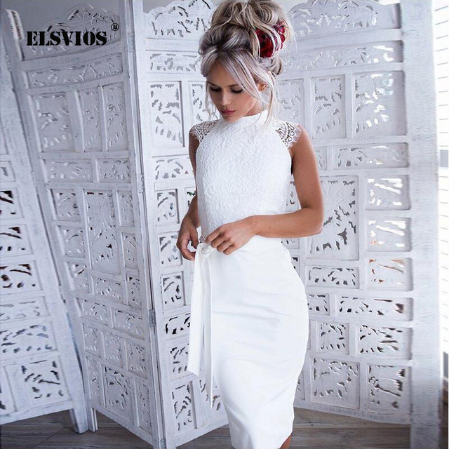 ELSVIOS Summer White Slim Bodycon Dress Women 2018 Lace Patchwork Sleeveless Night Party Dresses O Neck Elegant Dress Vestidos