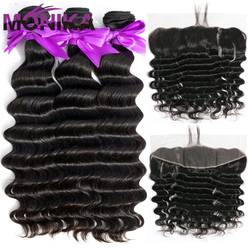 Monika Loose Deep Wave Bundles With Frontal NonRemy Human Hair with Frontal and Bundles Brazilian Hair
