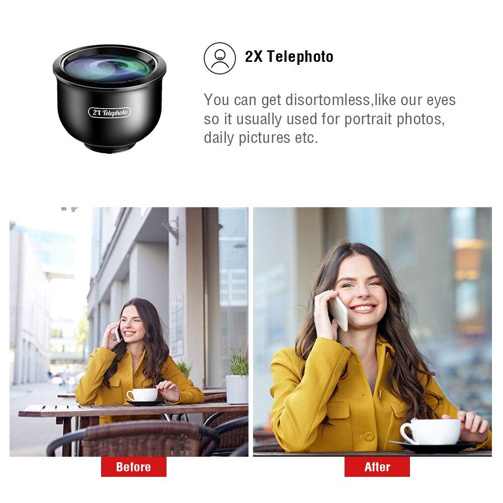 5 в 1 объектив для камеры телефона Комплект HD 4K широкоугольный телескоп Супер Рыбий глаз Макро телефон линзы для samsung Xiaomi huawei объектив - 2