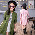 2017 primavera revestimento do outono para meninas rosa verde vermelho tendência casacos ruffles longo pouco adolescentes casacos e jaquetas de meninas roupas