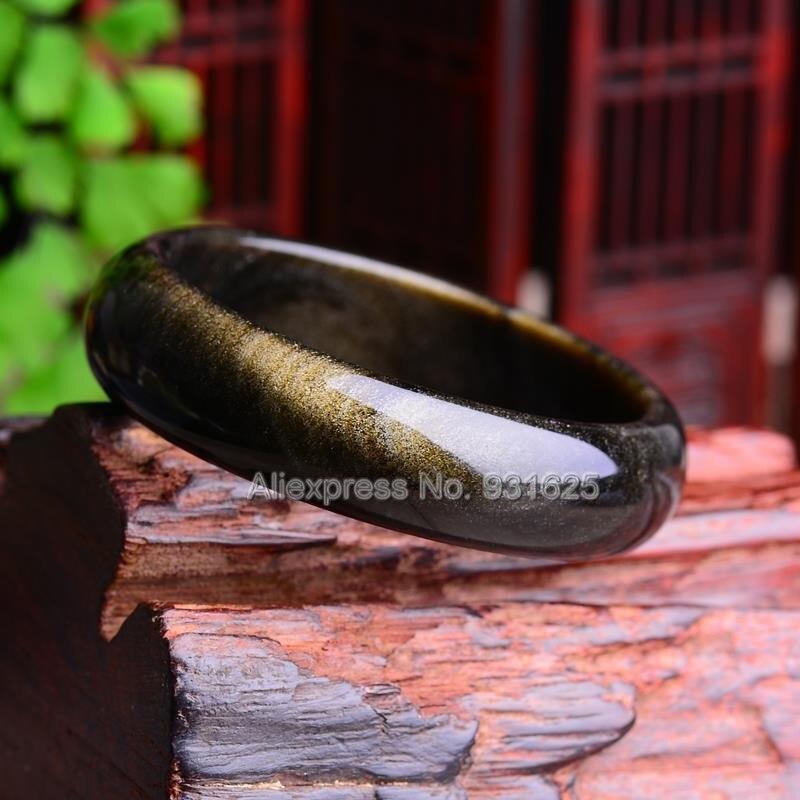 Beau Bracelet obsidienne en or naturel de 15-20mm de large Bracelet chanceux fait main bracelets pour femme et homme 58-60mm - 3