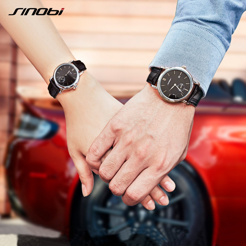 SINOBI Women Dress Watches Luxury Leather Lovers Couple Watch Men Date Waterproof Women Geneva Quartz Wrist Watch Montre Homme