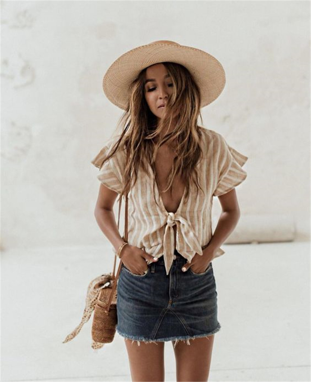 Women <font><b>T</b></font>-Shirts V Neck Stripe Tees Tops Bow Front Female Summer Casual <font><b>T</b></font> Shirt Short TShirt <font><b>Haut</b></font> <font><b>Femme</b></font> <font><b>Sexy</b></font> image
