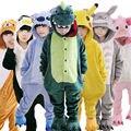 Niños Niños Franela Pijamas Animal Anime Disfraces de Dibujos Animados Ropa de Dormir de Cosplay Onesie Unicornio Panda Stitch Jirafa Tigre