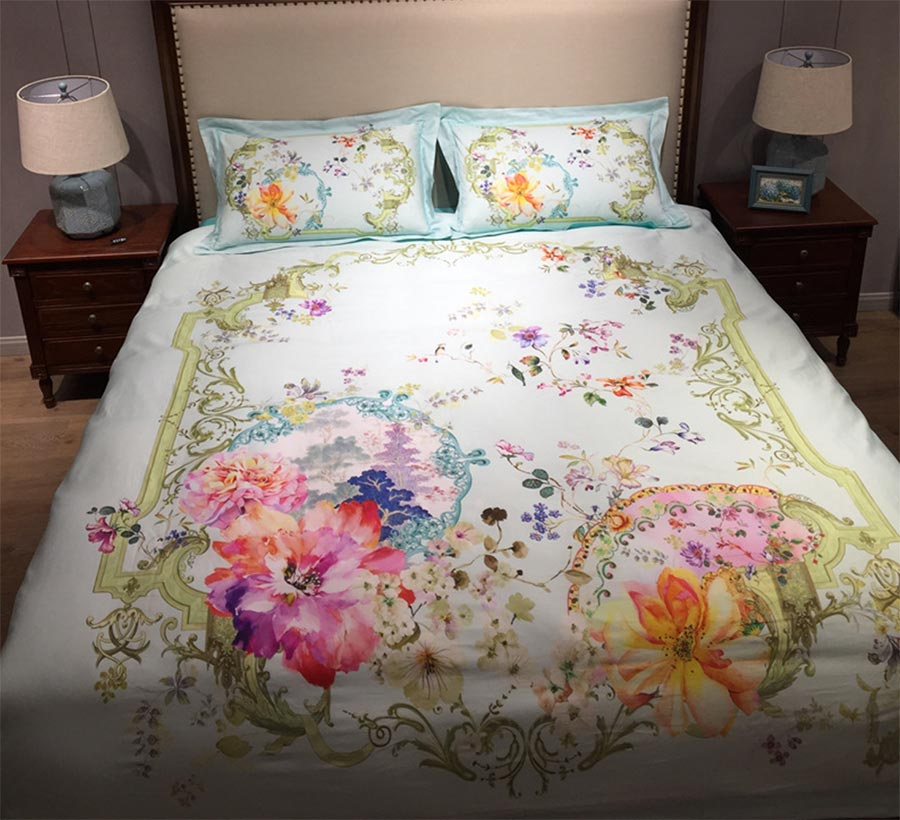 Florid Colorful Pastoral Double Bedding Set Cotton Full Queen King Fancy Palace Home Textiles Bed