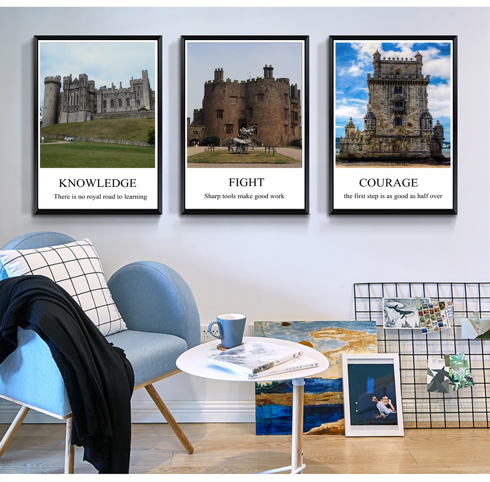 landscape castle inspirational motivational wall art canvas painting for living room nordic marble picture decoration in painting calligraphy from home