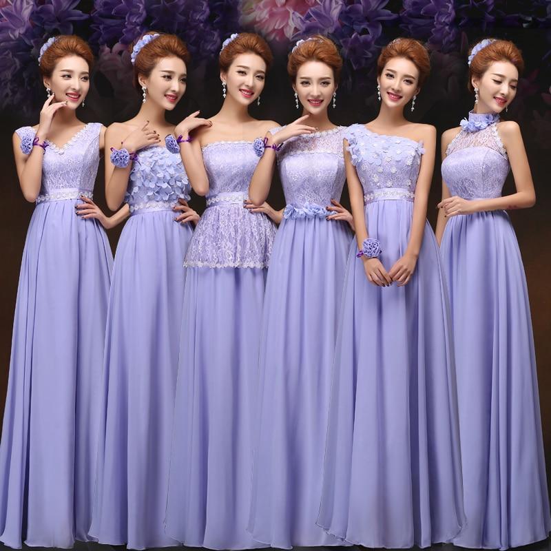 Spring Summer violet purple chiffon knee length Bridesmaid Dress ...
