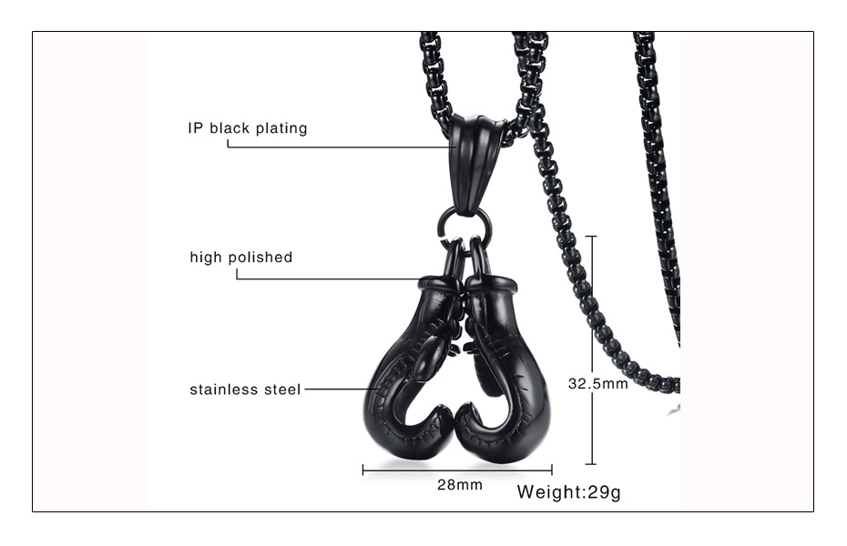 Meaeguet Stainless Steel Chain Pair Boxing Glove Pendant Charm Fitness Rock Punk Jewelry Collar de Cadena Cool Necklace (8)