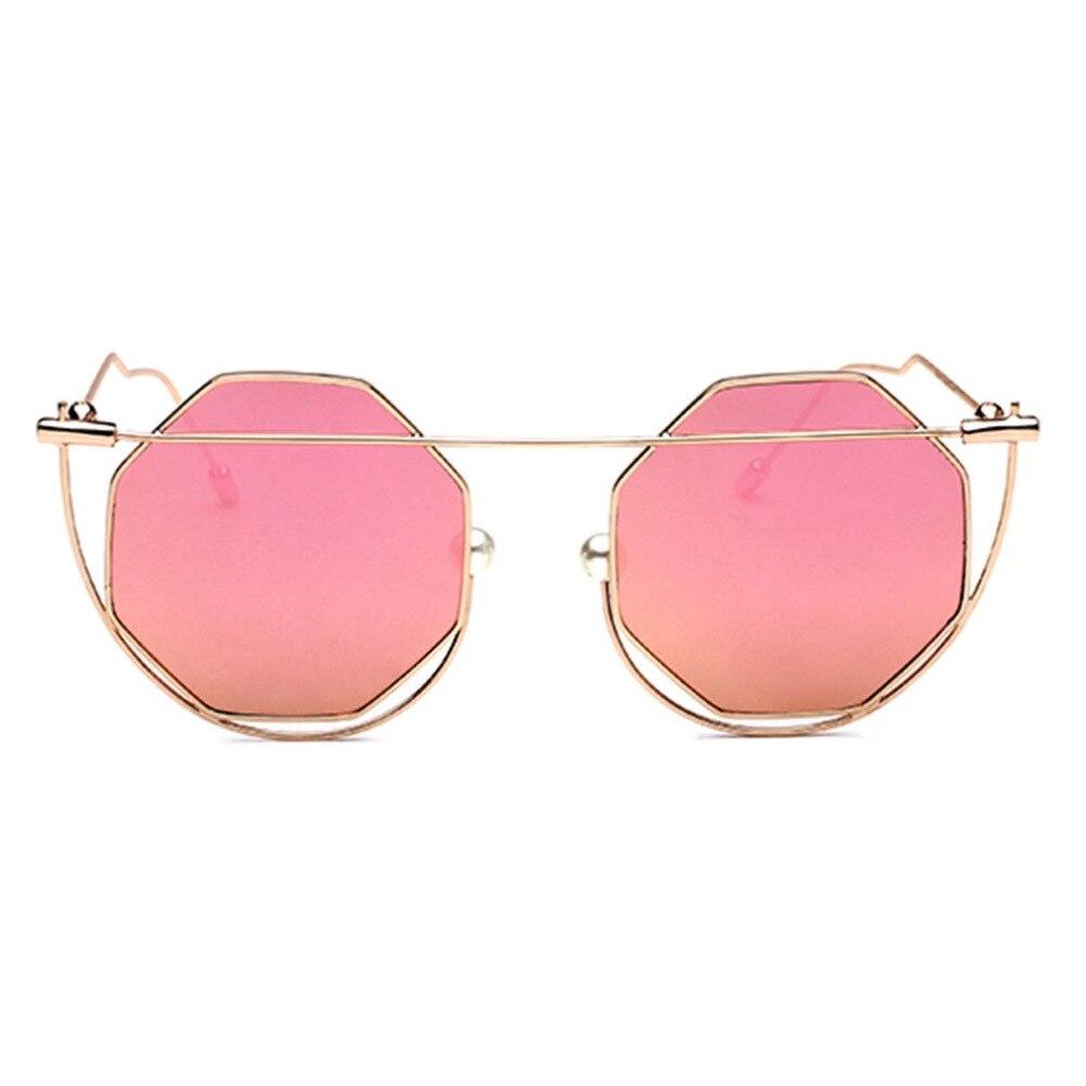 Metal Pearl Nose Pad Sunglasses Fashion Hexagon Metal Frame Cool Sun Glasses Oculos De Sol